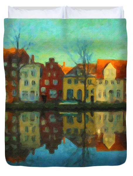 Historic Old Town Lubeck Duvet Cover