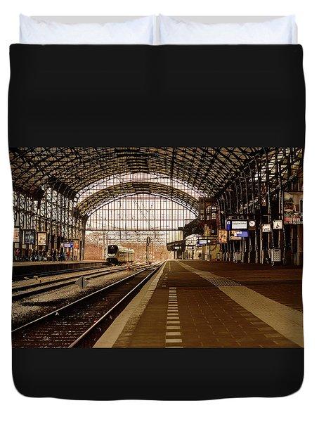 Historic Railway Station In Haarlem The Netherland Duvet Cover by Yvon van der Wijk