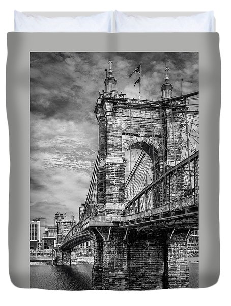 Historic Roebling Bridge Duvet Cover by Diana Boyd
