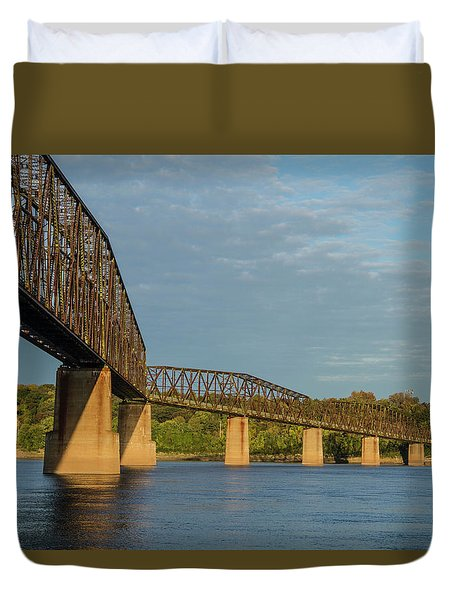Historic  Route 66 Chain Of Rocks Bridge Duvet Cover