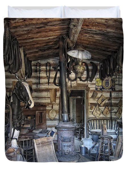Historic Saddlery Shop - Montana Territory Duvet Cover by Daniel Hagerman