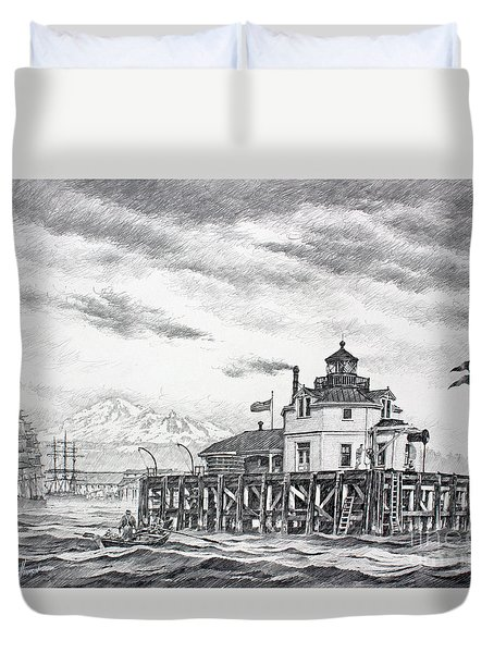 Historic Semiahmoo Lighthouse  Duvet Cover by James Williamson