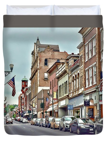 Duvet Cover featuring the photograph Historic Staunton Virginia - Art Of The Small Town  by Kerri Farley