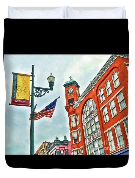 Duvet Cover featuring the photograph Historic Staunton Virginia - The Clocktower - Art Of The Small Town by Kerri Farley