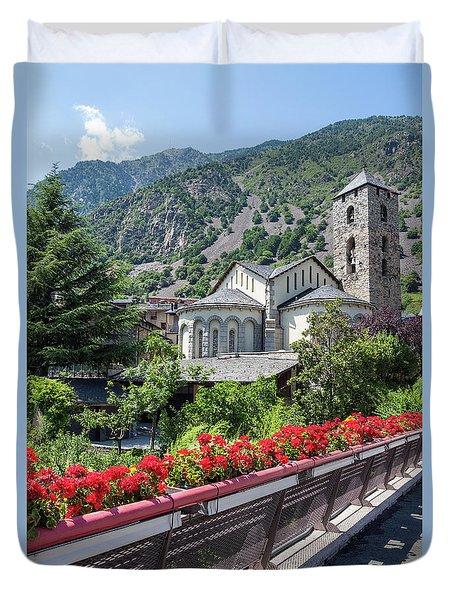 Historic Town Of Andorra La Vella Duvet Cover by GoodMood Art