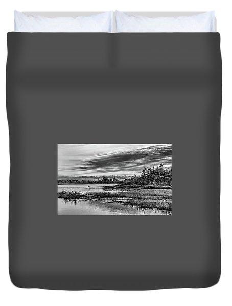 Historic Whitebog Landscape Black - White Duvet Cover