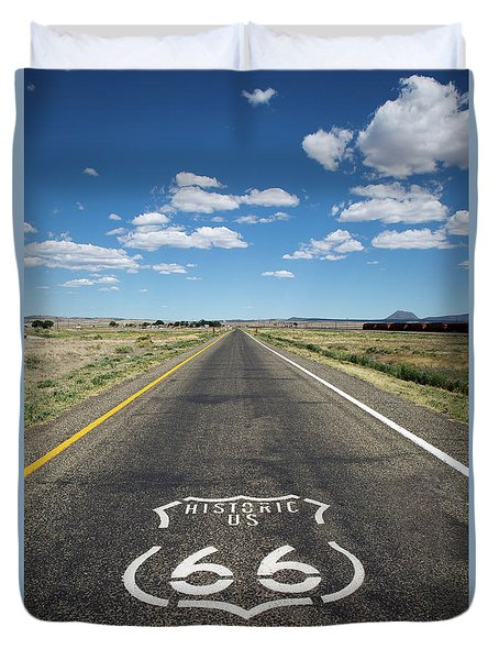 Duvet Cover featuring the photograph Historica Us Route 66 Arizona by Steven Frame