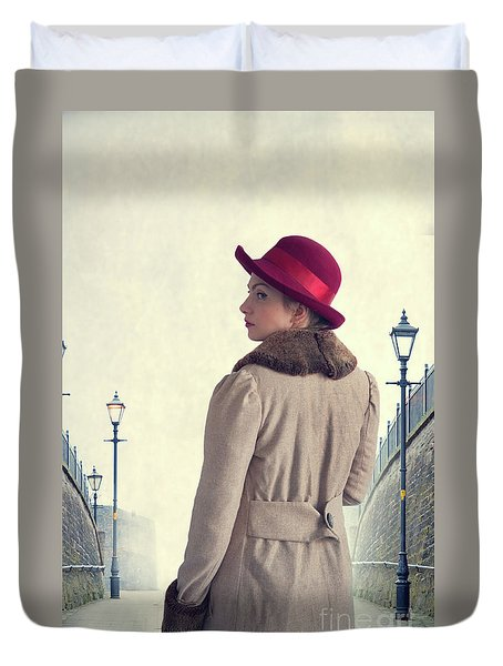 Historical Woman In An Overcoat And Red Hat Duvet Cover by Lee Avison