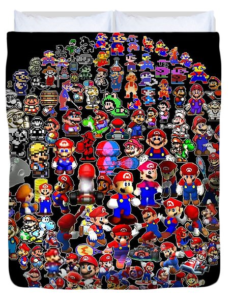 History Of Mario Mosaic Duvet Cover by Paul Van Scott