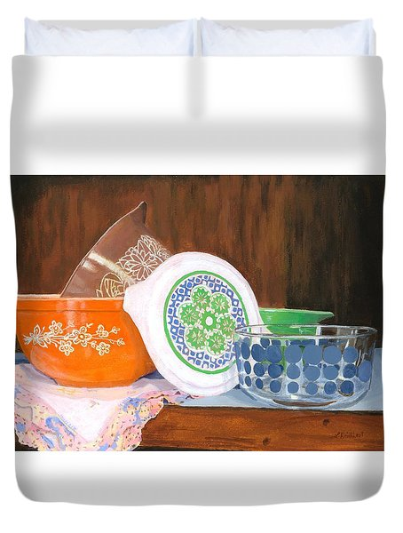 Duvet Cover featuring the painting History Of Pyrex by Lynne Reichhart