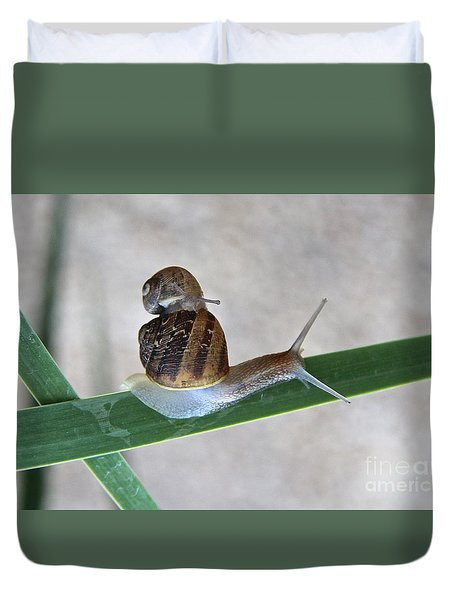 Duvet Cover featuring the photograph Hitching A Ride by Suzanne Oesterling