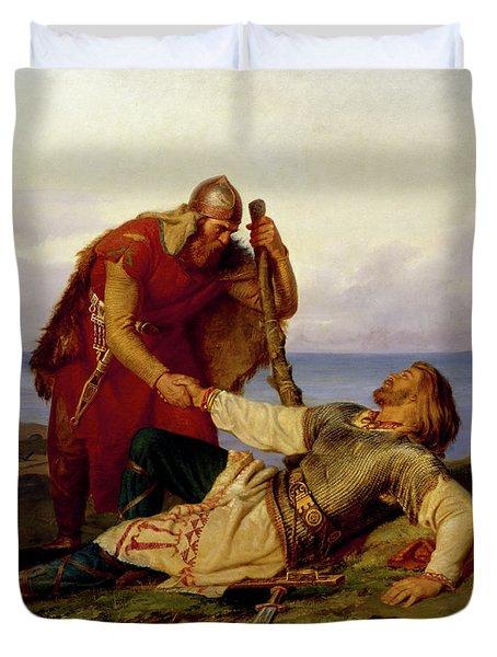Hjalmar Parting From Orvar Odd After The Fight On Samso Duvet Cover