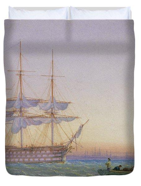 Hm Frigates At Anchor Duvet Cover by John Joy
