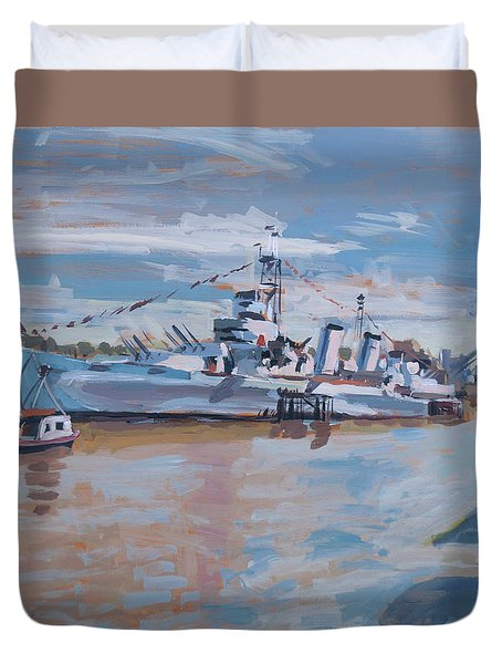 Hms Belfast Shows Off In The Sun Duvet Cover