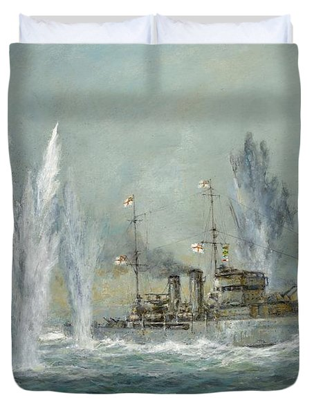 Hms Exeter Engaging In The Graf Spree At The Battle Of The River Plate Duvet Cover