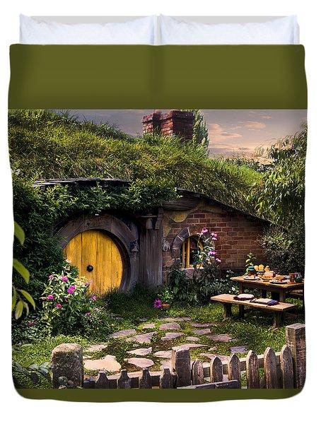 Hobbit Hole At Sunset Duvet Cover