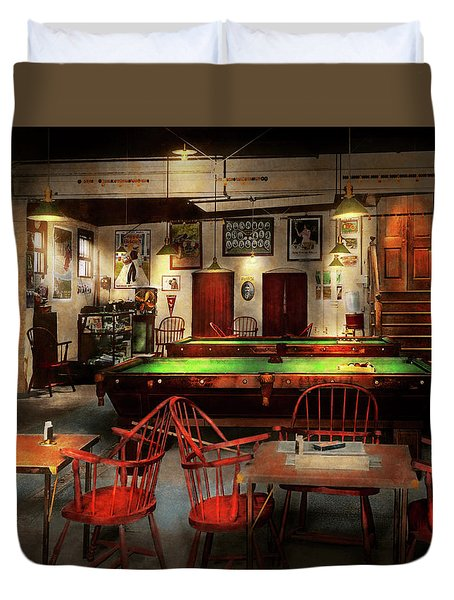 Duvet Cover featuring the photograph Hobby - Pool - The Billiards Club 1915 by Mike Savad