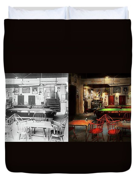 Duvet Cover featuring the photograph Hobby - Pool - The Billiards Club 1915 - Side By Side by Mike Savad