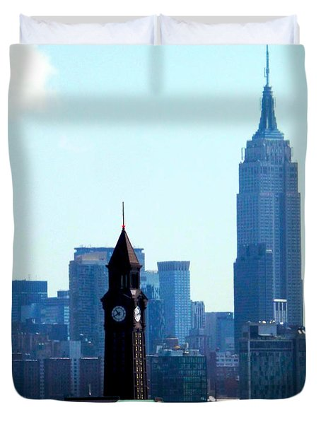 Hoboken And New York Duvet Cover by James Aiken