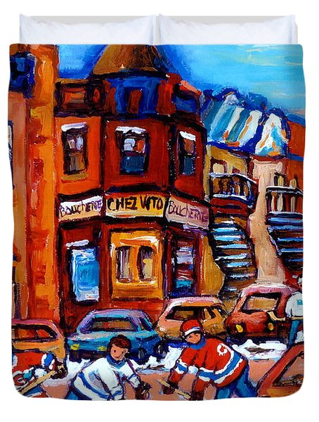 Hockey At Fairmount Bagel Duvet Cover by Carole Spandau