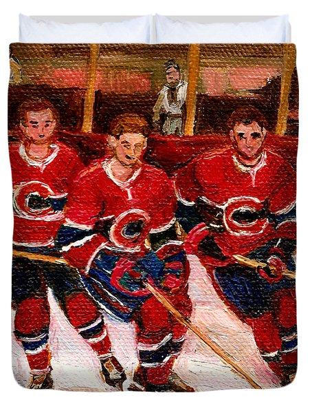 Hockey At The Forum Duvet Cover by Carole Spandau
