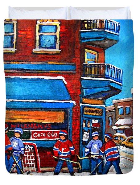 Hockey Game At Wilensky's Duvet Cover by Carole Spandau