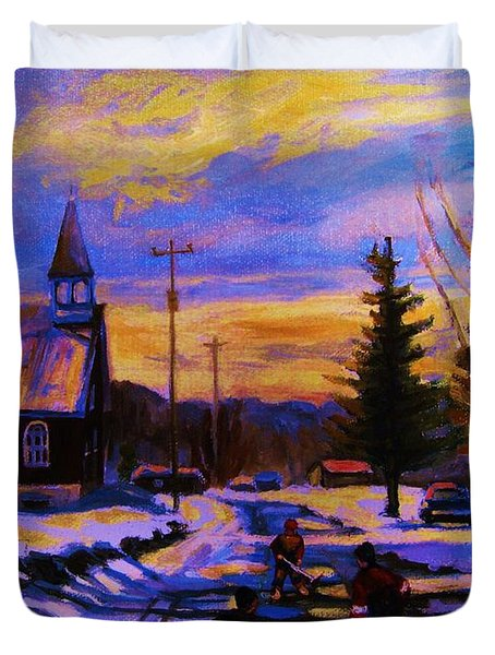 Hockey Game In The Village Duvet Cover by Carole Spandau