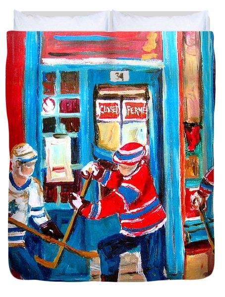 Hockey Sticks In Action Duvet Cover by Carole Spandau