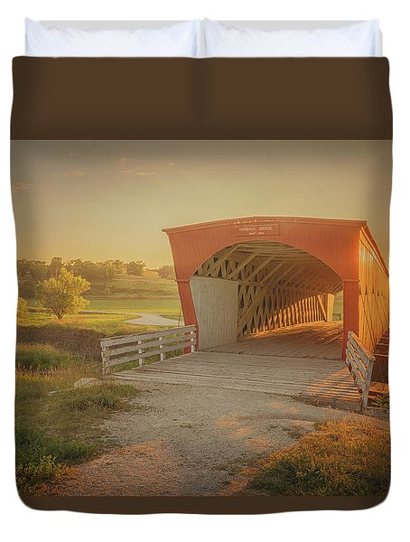 Duvet Cover featuring the photograph Hogback Covered Bridge by Susan Rissi Tregoning