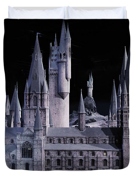 Duvet Cover featuring the mixed media Hogwards School  by Gina Dsgn
