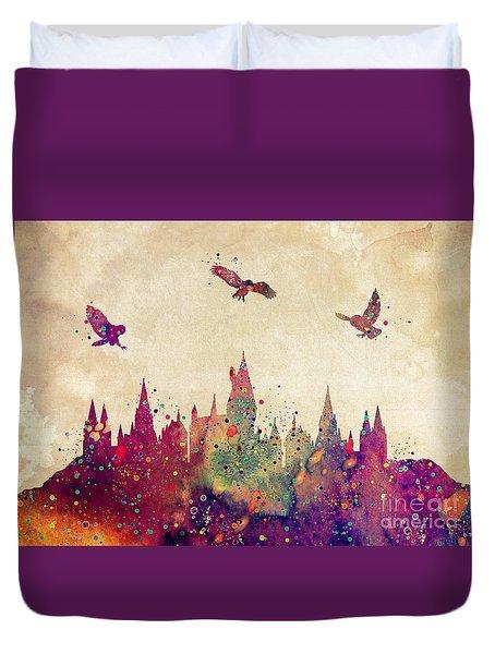 Hogwarts Castle Watercolor Art Print Duvet Cover