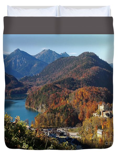Hohenschwangau Castle And Alpsee In Bavaria Duvet Cover