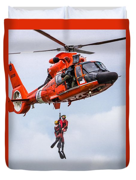 Hoisting By Helicopter Duvet Cover