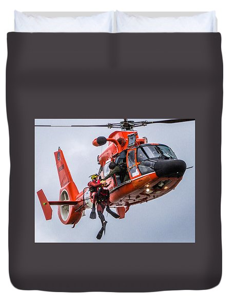 Hoisting Into Helicopter Duvet Cover
