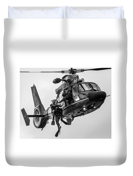Hoisting Victim Into Helicopter Duvet Cover