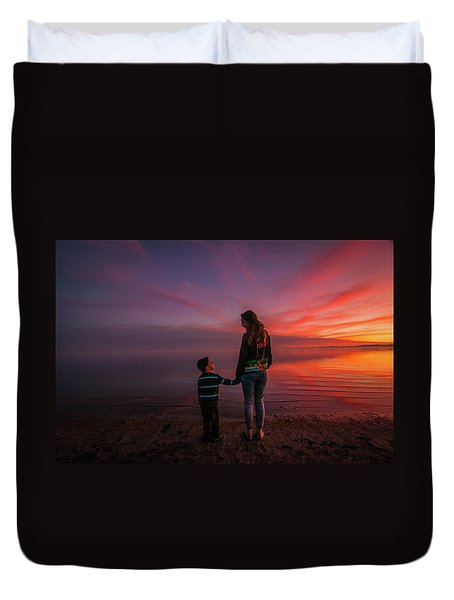 Hold My Hand Little Brother Duvet Cover by Ralph Vazquez