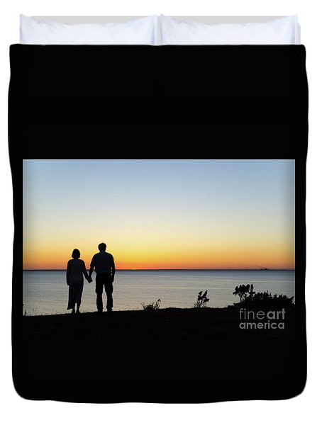 Duvet Cover featuring the photograph Holding Hands By  Sunset  by Kennerth and Birgitta Kullman