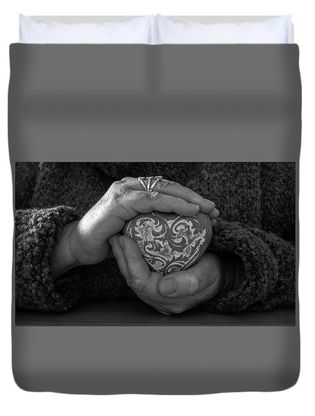 Holding My Heart In My Hands Duvet Cover