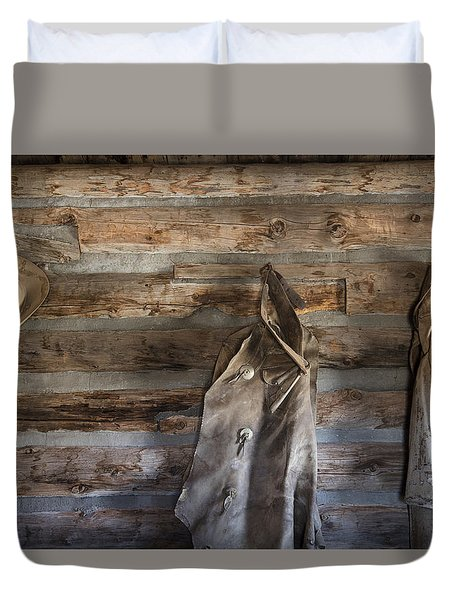 Hole-in-the-wall Cabin At Old Trail Town In Cody In Wyoming Duvet Cover by Carol M Highsmith