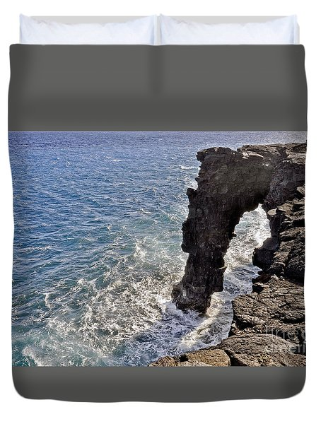 Duvet Cover featuring the photograph Holei Sea Arch by Gina Savage