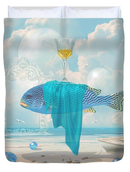 Duvet Cover featuring the digital art Holiday At The Seaside by Alexa Szlavics