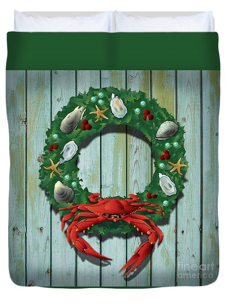 Holiday Crab Wreath Duvet Cover