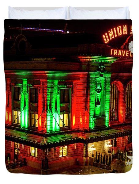 Holiday Lights At Union Station Denver Duvet Cover