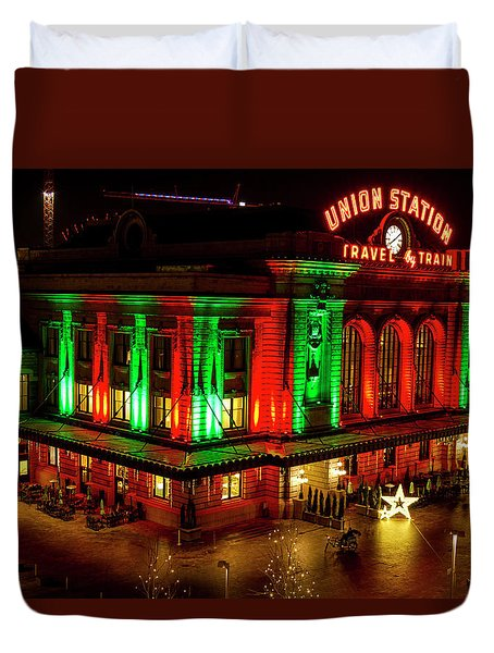 Holiday Lights At Union Station Denver Duvet Cover
