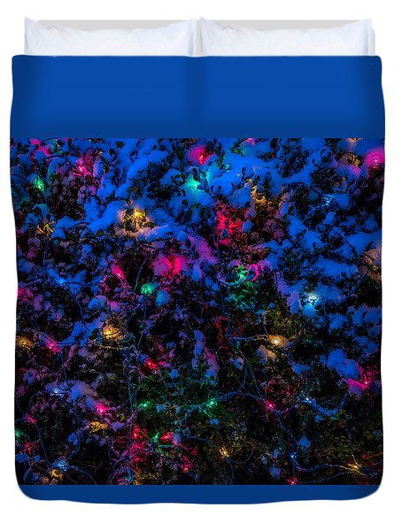 Holiday Lights In Snow Duvet Cover