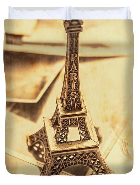Holiday Nostalgia In Vintage France Duvet Cover