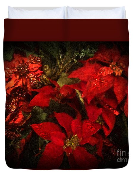 Holiday Painted Poinsettias Duvet Cover