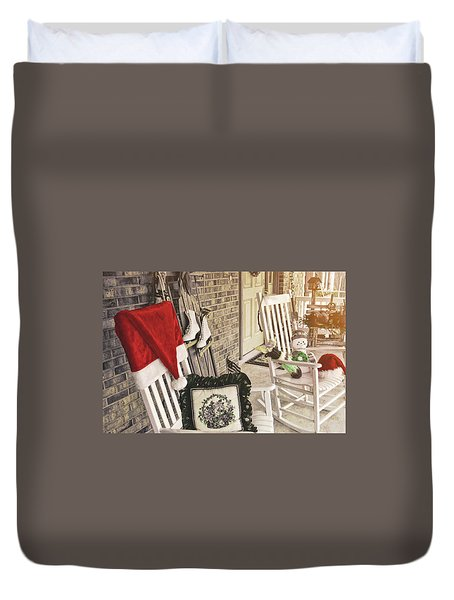 Holiday Porch Duvet Cover by JAMART Photography