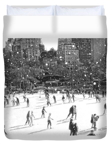 Holiday Skaters Duvet Cover