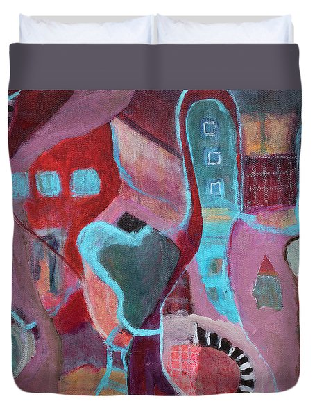 Duvet Cover featuring the painting Holiday Windows by Susan Stone